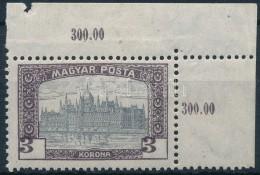 ** 1919 Magyar Posta 3K ívsarki Bélyeg Keretbe Tolódott értékszámok - Stamps