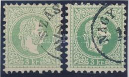O 1867 2 Db 3kr Zöld és Kékeszöld Színben, Szép, Hibátlan Darabok - Stamps