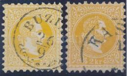 O 1867 2 Db 2kr Sárga és Narancs Színben, Szép, Hibátlan Darabok - Stamps