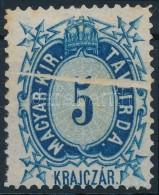 (*) 1874 Távírda 5kr Papírránccal, Ritka (rozsdapöttyök) - Stamps