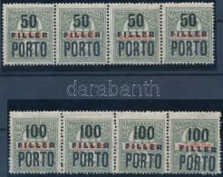** 1919 Nem Hivatalos Portó 50f és 100f 4-es Csíkokban, Garancia Nélkül - Stamps
