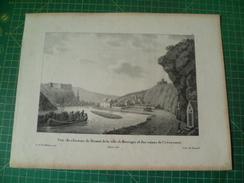 Vue Du Chateau De Dinant, De La Ville De Bouvigne Et Des Ruines De Crève-coeur. Lithographie De 1828. Madou - Estampas & Grabados