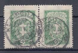 """Litauen 5 C Doppelkreuz 1926 - Waagerechtes Paar, """"Klaipeda"""" 2 Kreis Gestempelt - Lituanie"""