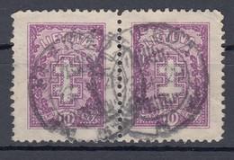 """Litauen 10 C Doppelkreuz 1926 - Waagerechtes Paar, """"Klaipeda"""" 2 Kreis Gestempelt - Lituanie"""