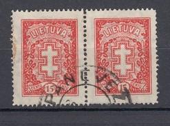 """Litauen 15 C Doppelkreuz 1933 - Waagerechtes Paar, """"Panevez"""" 2 Kreis Gestempelt - Lituanie"""