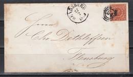 Schleswig-Holstein/Dänemark MiNo. 7 Auf Umschlag NoS 54 Und K1 Rensdburg 1858, Rs Lacksiegel - Schleswig-Holstein