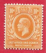 Afrique Orientale Britannique & Ouganda N°136 10c Jaune Foncé 1912-21 * - Kenya, Uganda & Tanganyika