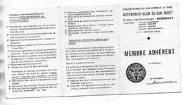 AUTOMOBILE CLUB DE SUD-OUEST  BORDEAUX   Membre  Adhérent  1TIMBRE FISCAL  Année 1970 - Habillement, Souvenirs & Autres