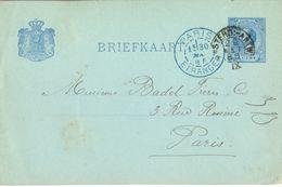 PAYS-BAS ENTIER POSTAL WILLEM III  5 CENT TàD AMSTERD:- ANTW IX  29  MAI 1895 + TàD PARIS ETRANGER BLEU 30 MAI 85 - Material Postal