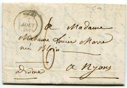 ALLIER De VICHY LAC Du 07/08/1845 Avec Dateur T 14+ Taxe De 6 Pour NYONS - 1801-1848: Precursors XIX