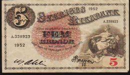 1952 SWEDEN SVERIGES RIKSBANK FEM 5 KRONOR NOTE IN A VF GRADE. - Svezia
