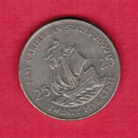 EAST CARIBBEAN STATES   25 CENTS 2000 (KM # 14) - East Caribbean States