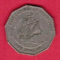 EAST CARIBBEAN STATES   $1.00 DOLLAR 1989 (KM # 20) - East Caribbean States