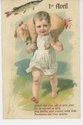 POISSON 1ER AVRIL - PIG - Jolie Carte Fantaisie Gaufrée Enfant Portant Un Cochon 1er Avril (embossed Postcard) - Erster April
