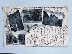 C.P.A. TAHITI : Quatre Vues Cascade De Fataua, Allée De Fataua, Diadème, Pont De Fataua, Timbre 1901 - Tahiti