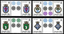 Gibraltar, 1987, 521/24, Schiffswappen, Ship Crest. MNH **, Gutter Pair - Gibraltar