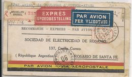 BELGIQUE - Vf 1933 COVER - Mech Cancellation - VIA AEROPOSTALE - EXPRÉS -BRUXELLES Via TOULOUSE -BUENOS AIRES To ROSARIO - Belgien