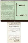 2 Documents Anciens Scoutisme - Titre De Cadette + Carte De Réduction AU Feu De Camp - 2 Scans - Scoutisme