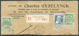 Fragment De Lettre Affr; Grosse Barbe Obl. Sc Agence De BRUXELLES N°21*  Du 2 Novembre 1909 + Etiquette De BRUXELLES Age - Postmark Collection