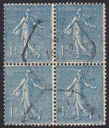 FRANCE Francia Frankreich - 1926 - Quartina Di Yvert 205 Obliterati, 1 F, Blu, Semeuse A Righe. - France