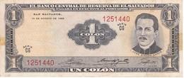 BILLETE DE EL SALVADOR DE 1 COLON DEL AÑO 1968-70 DE CRISTOBAL COLON   (BANKNOTE) - El Salvador