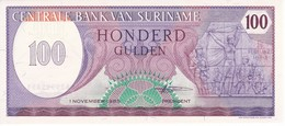 BILLETE DE SURINAM DE 100 GULDEN DEL AÑO 1985 (BANKNOTE) SIN CIRCULAR-UNCIRCULATED - Surinam