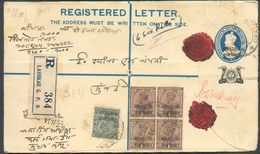 Registered Letter G.V + Yv N°50-53(28) Recto Et Verso Obl. Dc LASHKAR G.P.O Du 8 Juillet 1933 Vers Bombay.  - 12055 - India (...-1947)