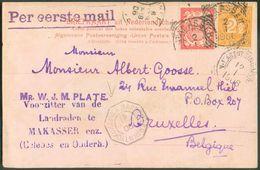 INDES NEERLANDAISES 5c. Et 2½c. Obl. MAKASSER Sur C.P. Ill. Bodjongsche Weg Emarang) 2/1 1906 + Cachet N.1 AGENT SINGAPO - Timbres