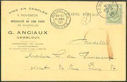 BELGIQUE N°83 - 5 Centimes Obl. Sc GEMBLOUX Sur Carte VINS En CERCLES & MOUSSEUX G. ANCIAUX (WINE) 6 July 1908 To Brusse - Vins & Alcools