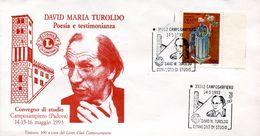 23538 Italia, Special Postmark 1993 Camposampiero, David Maria Turoldo Poesy, Circuled Cover - Christianisme