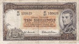 BILLETE DE AUSTRALIA DE 10 SHILLINGS AÑOS 1954-60     (BANKNOTE) - 1953-60