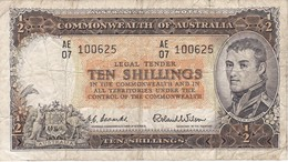 BILLETE DE AUSTRALIA DE 10 SHILLINGS AÑOS 1954-60     (BANKNOTE) - Pre-decimaal Stelsel Overheidsuitgave 1913-1965