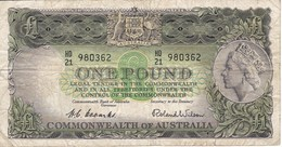 BILLETE DE AUSTRALIA DE 1 POUND AÑOS 1953-60     (BANKNOTE) - 1953-60