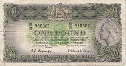 BILLETE DE AUSTRALIA DE 1 POUND AÑOS 1953-60     (BANKNOTE) - Pre-decimaal Stelsel Overheidsuitgave 1913-1965