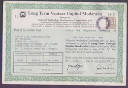 PAKISTAN Old Document Certificate Of 1994 - Long Term Venture Capital Modaraba, With 1 Rupee Revenue Stamp Tied On It - Pakistan