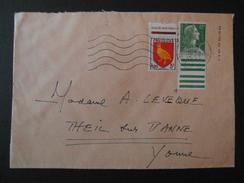 1955 - AFFRANCHISSEMENT COMPOSÉ SUR LETTRE Avec ARMOIRIE AUNIS + MARIANNE MULLER 12F BDF OMEC PARIS GARE ST LAZARE - Marcophilie (Lettres)