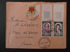 1950 - AFFRANCHISSEMENT COMPOSÉ SUR LETTRE Avec ARMOIRIE AUVERGNE + CHENIER DAVID HOROPLAN CONTREXVILLE - Marcophilie (Lettres)