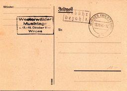 """Postkarte Französische Zone,  """"Gebühr Bezahlt."""" TS WIRGES (WESTERW) 13.10.46 Nebenstempel """"Westerwälder Musiktage"""" - Zone Française"""