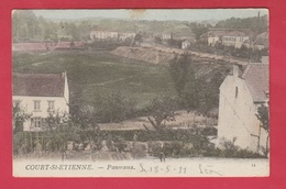 Court-Saint-Etienne - Panorama ... Carte Colorisée - 1911 ( Voir Verso ) - Court-Saint-Etienne