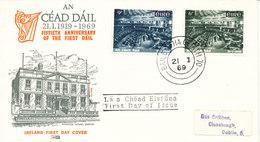 Ireland FDC 21-1-1969 The Irish Parliament 50th. Anniversary With Cachet - FDC
