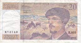 BILLETE DE FRANCIA DE 20 FRANCS DEL AÑO 1992 SERIE E.035  (BANKNOTE) CLAUDE DEBUSSY - 1962-1997 ''Francs''