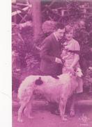 CARTE FANTAISIE. COUPLE EN COMPAGNIE DE LEUR CHIEN. . ANNÉE 1931 - Hunde