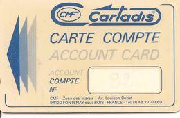 -CARTE-MAGNETIQUE-CARTADIS MONEO-Plastic Epais--TBE - Frankrijk