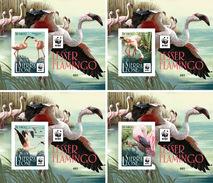 SIERRA LEONE 2017 - WWF Flamingo, Set Of 4 Deluxe Sheets - W.W.F.