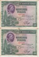 PAREJA CORRELATIVA DE 500 PTAS DEL AÑO 1928 EN CALIDAD BC -CARDENAL CISNEROS - 500 Pesetas