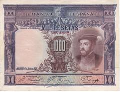 BILLETE DE ESPAÑA DE 1000 PTAS DEL AÑO 1925 DE CARLOS I CALIDAD MBC (VF)  SIN SERIE (BANKNOTE) - 1000 Pesetas