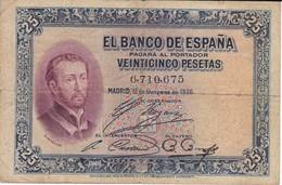 BILLETE DE ESPAÑA DE 25 PTAS  DEL AÑO 1926 SIN SERIE    CALIDAD RC  (BANKNOTE) - 1-2-5-25 Pesetas