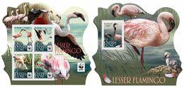 SIERRA LEONE 2017 - WWF Flamingo M/S + S/S. Official Issue - Pájaros