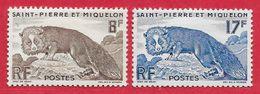 Saint-Pierre & Miquelon N°345 8F Brun, N°346 17F Bleu 1952 * - St.Pierre & Miquelon