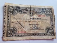 Billete 25 Pesetas. 1937. Bilbao. República Española. Guerra Civil. Sin Serie. Banco Del Comercio - [ 2] 1931-1936 : Repubblica